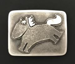 Melanie A Yazzie Beverly Hills Yazzie Horse Belt Buckle Sterling Silver - 504240