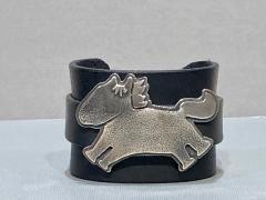 Melanie A Yazzie Beverly Hills Yazzie black leather and sterling silver cuff bracelet - 1758893