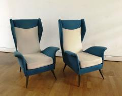 Melchiorre Bega 1950s Pair of Armchairs with Very High Back - 450747