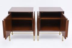 Melchiorre Bega Pair Italian Modern Walnut and Bronze Bedside Tables - 530494