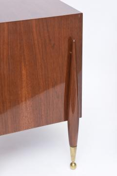 Melchiorre Bega Pair Italian Modern Walnut and Bronze Bedside Tables - 530498