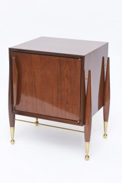 Melchiorre Bega Pair Italian Modern Walnut and Bronze Bedside Tables - 530501