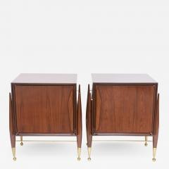 Melchiorre Bega Pair Italian Modern Walnut and Bronze Bedside Tables - 531792