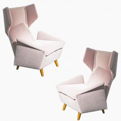 Melchiorre Bega Pair of armchairs in light pink velvet by Melchiorre Bega circa 1950 - 1061538