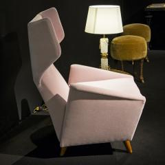 Melchiorre Bega Pair of armchairs in light pink velvet by Melchiorre Bega circa 1950 - 1061539