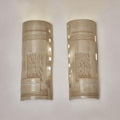 Melissa Cromwell Pair of Slab Built Ceramic Wall Sconces by Melissa Cromwell - 1173804