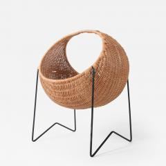 Metal and wicker baby basket - 1006286