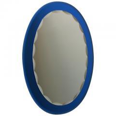 Metalvetro Galvorame Mid Century Modern Italian Metalvetro Galvorame Mirror with Blue Glass Frame - 978168