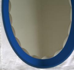 Metalvetro Galvorame Mid Century Modern Italian Metalvetro Galvorame Mirror with Blue Glass Frame - 978189