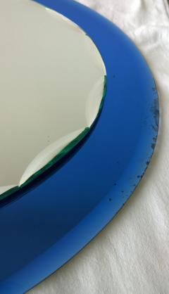 Metalvetro Galvorame Mid Century Modern Italian Metalvetro Galvorame Mirror with Blue Glass Frame - 978192