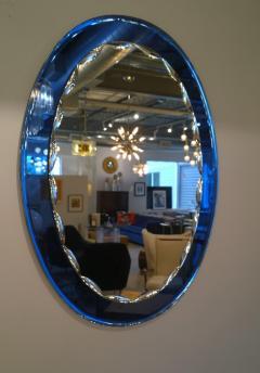 Metalvetro Galvorame Mid Century Modern Italian Metalvetro Galvorame Mirror with Blue Glass Frame - 978194