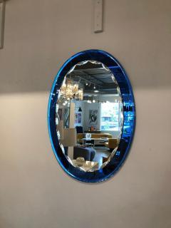 Metalvetro Galvorame Mid Century Modern Italian Metalvetro Galvorame Mirror with Blue Glass Frame - 978195