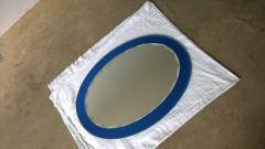 Metalvetro Galvorame Mid Century Modern Italian Metalvetro Galvorame Mirror with Blue Glass Frame - 978198