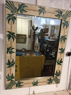 Mexican Modern Inlaid Stone and Brass Mirror - 1082258