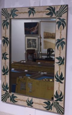 Mexican Modern Inlaid Stone and Brass Mirror - 1082266