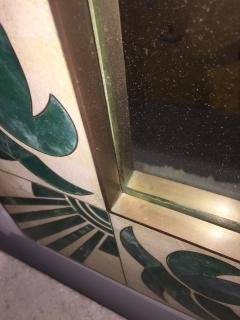 Mexican Modern Inlaid Stone and Brass Mirror - 1082267