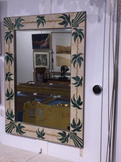 Mexican Modern Inlaid Stone and Brass Mirror - 1082268