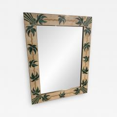 Mexican Modern Inlaid Stone and Brass Mirror - 1083114