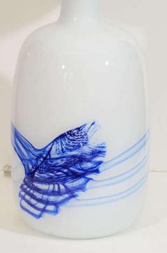 Michael Bang Michael Bang White Blue Glass Lamps - 919562