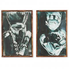 Michael J Dowling Michael J Dowling Contemporary Abstracted Oil Painting Pair on Paper Framed - 1499539