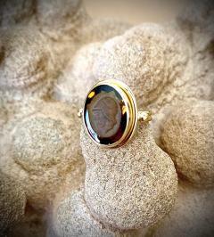 Michael Kneebone Cameo Cognac Quartz 18k Gold Archaic Style Ring - 1458455