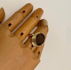 Michael Kneebone Cameo Cognac Quartz 18k Gold Archaic Style Ring - 1458457