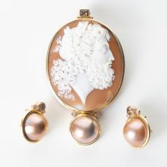Michael Kneebone Carved Shell Cameo Pendant of Zeus with Matching Mab Pearl Earrings - 1710849