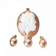 Michael Kneebone Carved Shell Cameo Pendant of Zeus with Matching Mab Pearl Earrings - 1717926