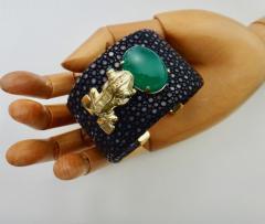 Michael Kneebone Emerald Botswana Agate Stringray 18k Gold Inca Frog Cuff - 1179573