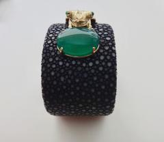 Michael Kneebone Emerald Botswana Agate Stringray 18k Gold Inca Frog Cuff - 1179580