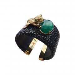 Michael Kneebone Emerald Botswana Agate Stringray 18k Gold Inca Frog Cuff - 1180458