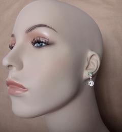 Michael Kneebone Green Zircon White Diamond and White Sapphire Dangle Earrings - 1191672