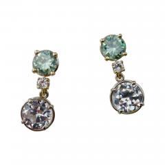 Michael Kneebone Green Zircon White Diamond and White Sapphire Dangle Earrings - 1192295