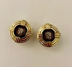 Michael Kneebone Michael Kneebone 18k Gold Roman Style Coin Button Earrings - 1359567