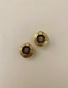 Michael Kneebone Michael Kneebone 18k Gold Roman Style Coin Button Earrings - 1359569