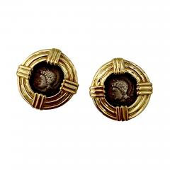 Michael Kneebone Michael Kneebone 18k Gold Roman Style Coin Button Earrings - 1362844