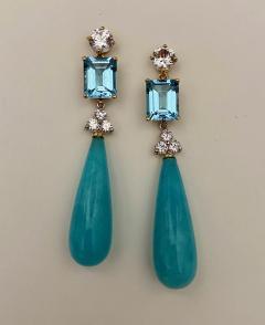 Michael Kneebone Michael Kneebone Amazonite Blue Topaz Diamond Sapphire Dangle Earrings - 1490862