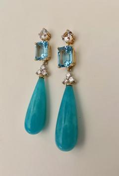 Michael Kneebone Michael Kneebone Amazonite Blue Topaz Diamond Sapphire Dangle Earrings - 1490863