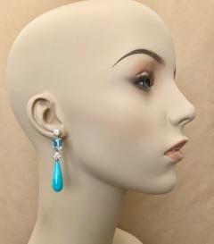 Michael Kneebone Michael Kneebone Amazonite Blue Topaz Diamond Sapphire Dangle Earrings - 1490864