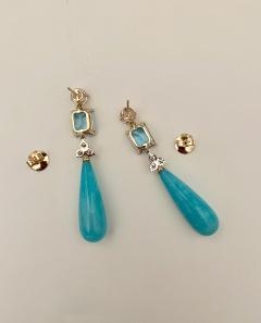 Michael Kneebone Michael Kneebone Amazonite Blue Topaz Diamond Sapphire Dangle Earrings - 1490867