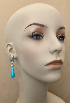 Michael Kneebone Michael Kneebone Amazonite Blue Topaz Diamond Sapphire Dangle Earrings - 1490870
