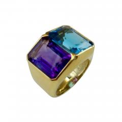 Michael Kneebone Michael Kneebone Amethyst Blue Topaz Due Pietra Cocktail Ring - 997828