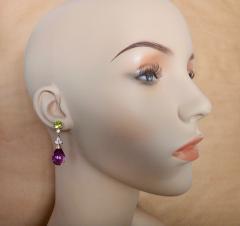 Michael Kneebone Michael Kneebone Amethyst Briolette Diamond Peridot Dangle Earrings - 1230425