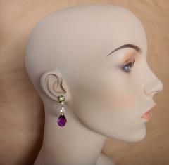 Michael Kneebone Michael Kneebone Amethyst Briolette Diamond Peridot Dangle Earrings - 1230430