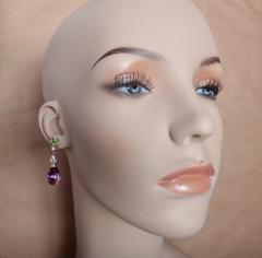 Michael Kneebone Michael Kneebone Amethyst Briolette Diamond Peridot Dangle Earrings - 1230434