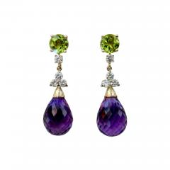 Michael Kneebone Michael Kneebone Amethyst Briolette Diamond Peridot Dangle Earrings - 1231063