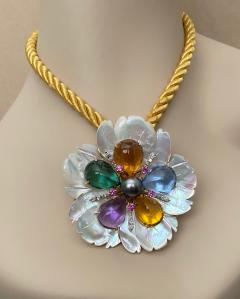 Michael Kneebone Michael Kneebone Amethyst Citrine Topaz Pink Sapphire Diamond Flower Pendant - 1668789