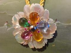 Michael Kneebone Michael Kneebone Amethyst Citrine Topaz Pink Sapphire Diamond Flower Pendant - 1668792