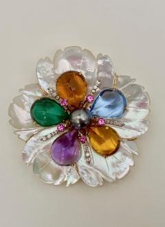 Michael Kneebone Michael Kneebone Amethyst Citrine Topaz Pink Sapphire Diamond Flower Pendant - 1668793