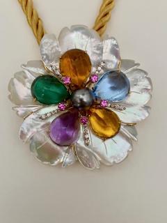 Michael Kneebone Michael Kneebone Amethyst Citrine Topaz Pink Sapphire Diamond Flower Pendant - 1668794